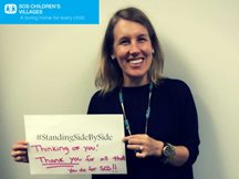 April from SOS USA is #StandingSidebySide her colleagues in West Africa fighting #Ebola.